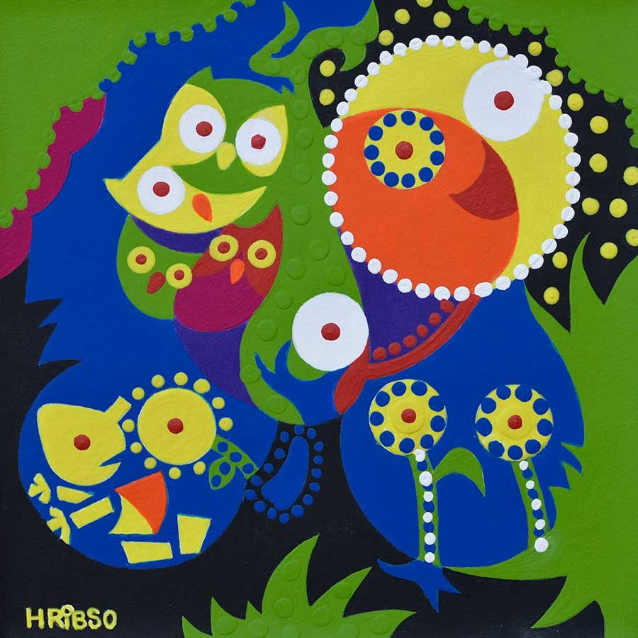 Painting - Owls Tree - Toyism. Buy art online.