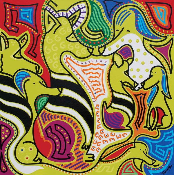 Painting - Zebra Dogs - Toyism. Buy art online.