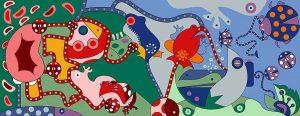 Bloemkikkers - Kunstdruk - Toyisme. Kunst te koop. Koop kleurrijke kunstdruk online.