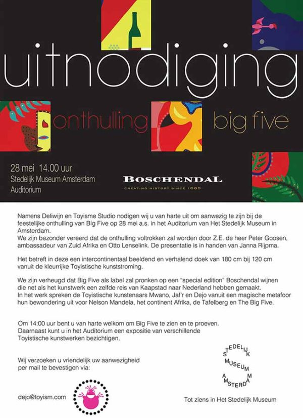 Invitation - Big Five - Stedelijk Museum Amsterdam - Toyism Art Movement