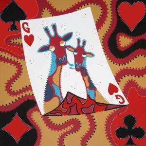 Silkscreen - Hearts Giraffe Trump Silkscreen - Toyism. Art for sale. Buy beststelling silkscreens online.