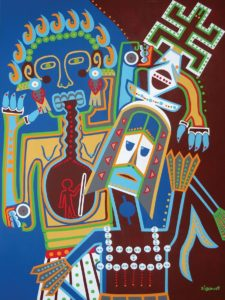 Painting - Two Masked Dancers - Toyism. Buy art online.